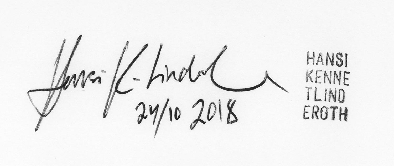 Hansi K. Linderoth - Signatur och stämpel